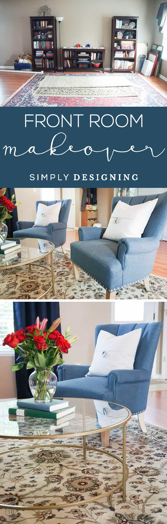 Front Room Makeover - it is amazing what a few changes can make - we added furniture and decorated it a bit to create a beautiful reading area that is so functional too