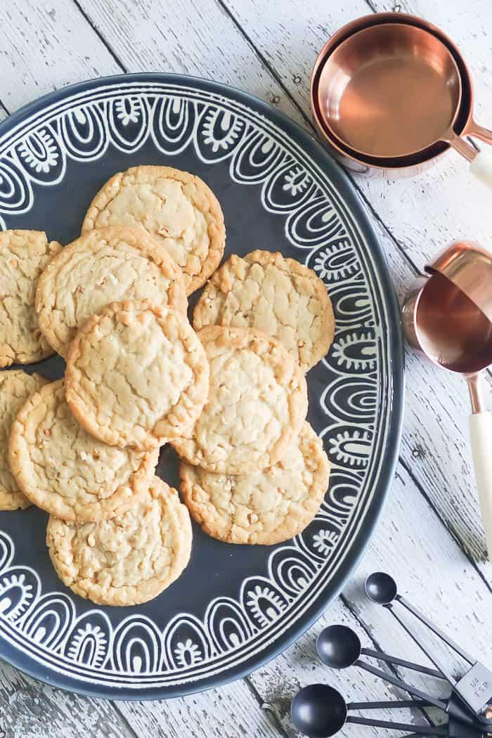 cookies on beautiful blue platter