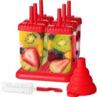 Utopia Home Top-Quality Plastic Popsicle Mold Set – 6 Ice Pop Makers - BPA Free – Folding Funnel & Cleaning Brush