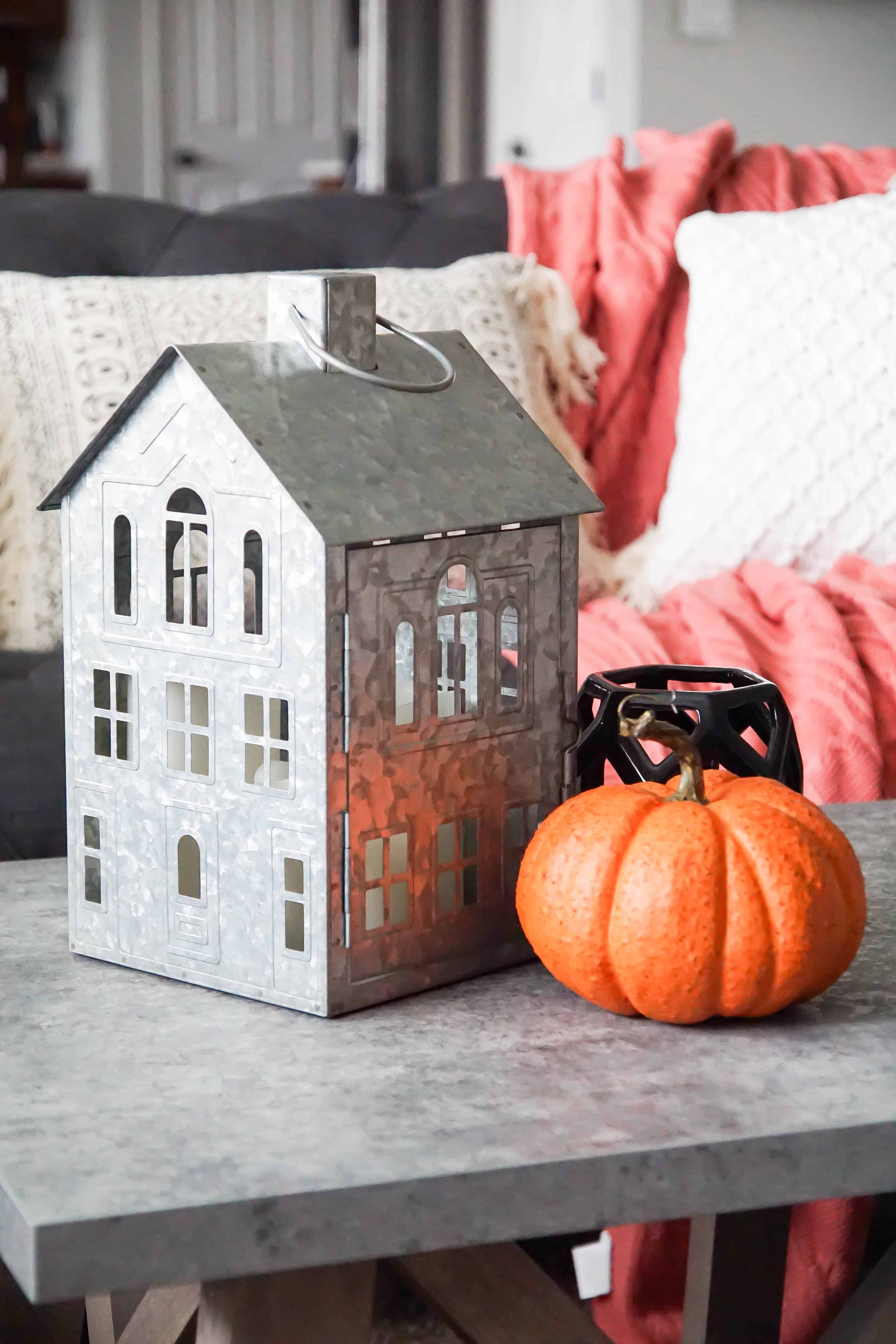metal house lantern in fall family room update