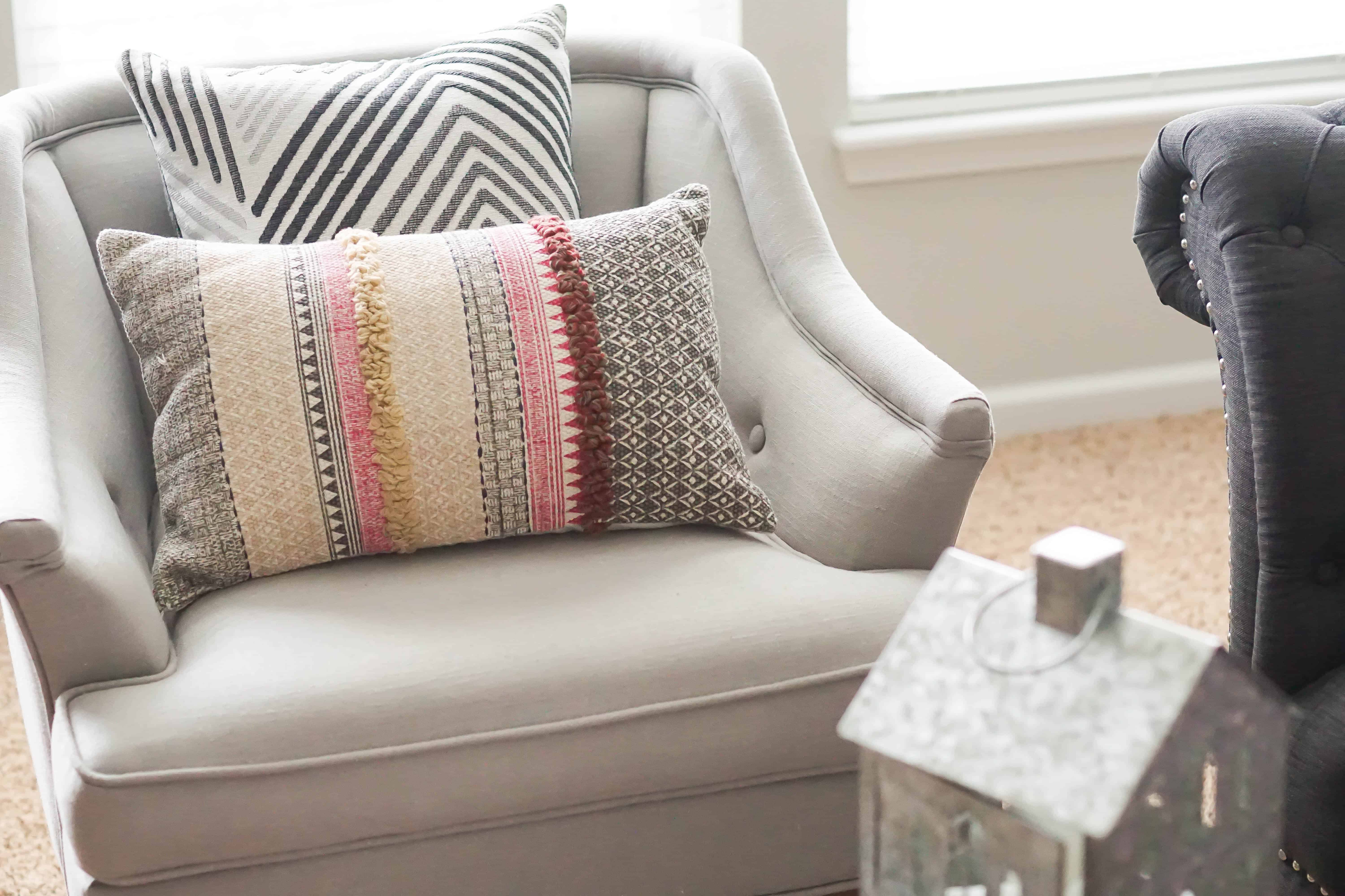 chevron pillow layer in fall room update