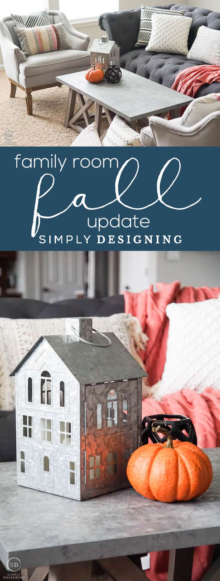 Fall Family Room Update - an affordable family room update that makes this living space warm and cozy and ready for fall