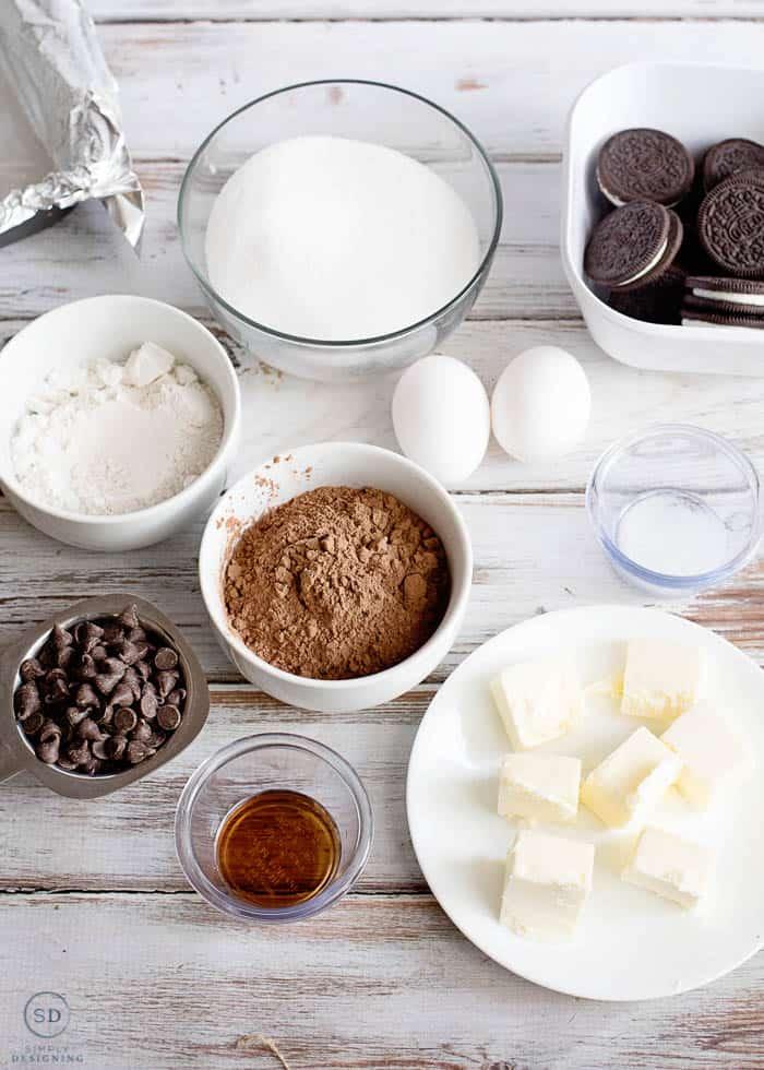 Stuffed Oreo Brownie Ingredients