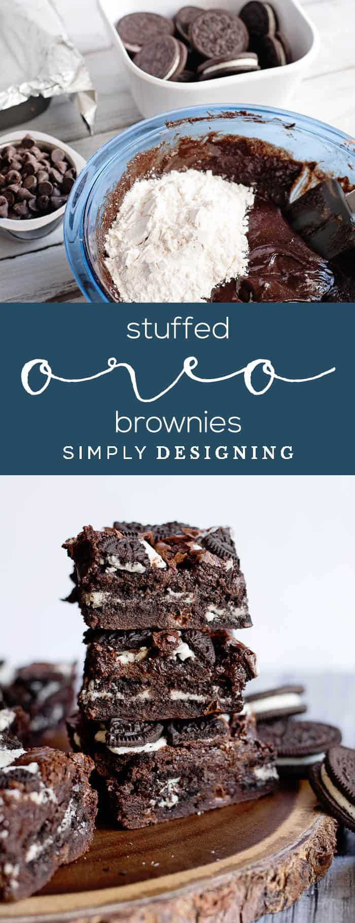 Stuffed Oreo Brownies - a delicious oreo brownie recipe made from scratch but still easy and delicious