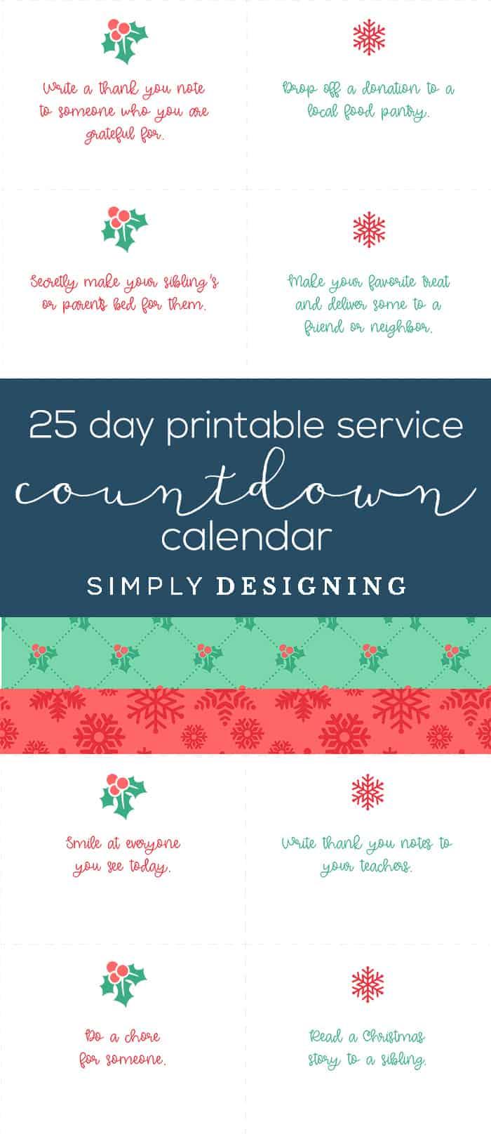 25 Day Free Printable Christmas Countdown Calendar - service countdown calendar - #ad #bhghowiholiday #bhglivebetter #bhgatwalmart @BHGLiveBetter