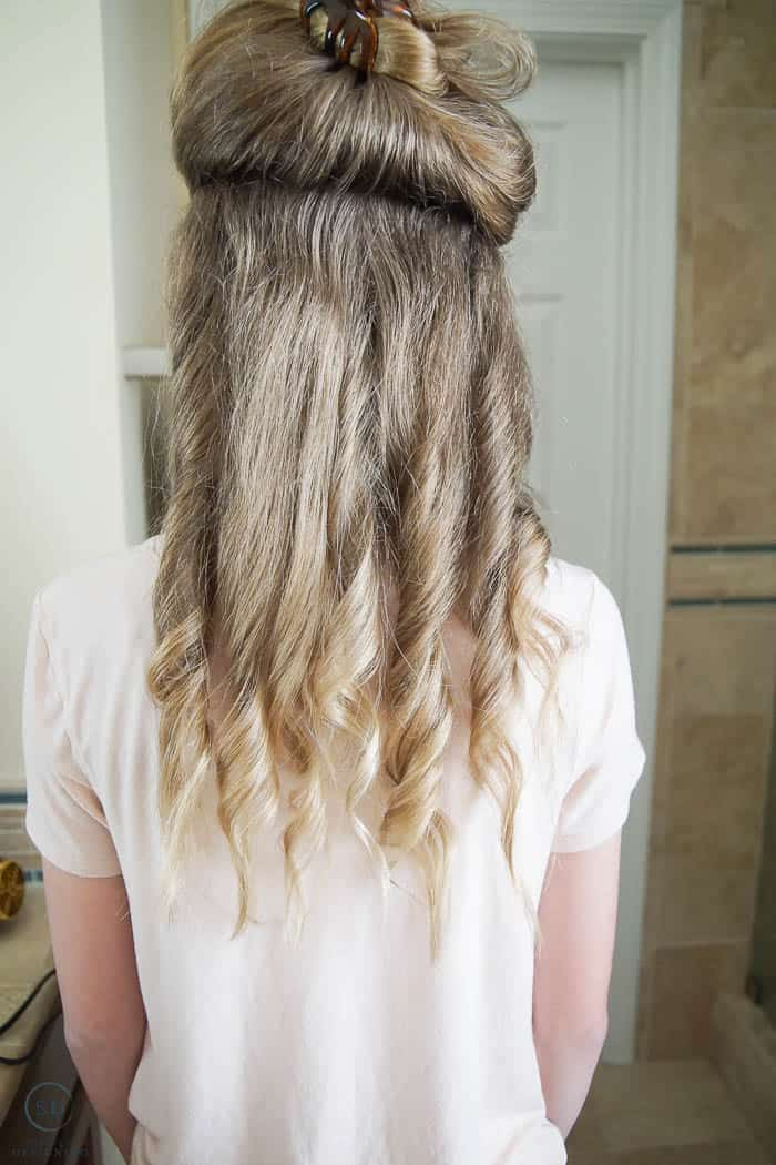bottom layer of hair curled for beach waves