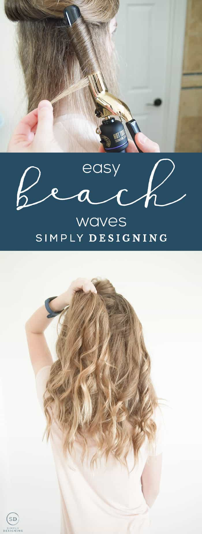 Easy Beach Waves for Long Hair - I am sharing how to create easy beach waves for long or short hair in only a few minutes