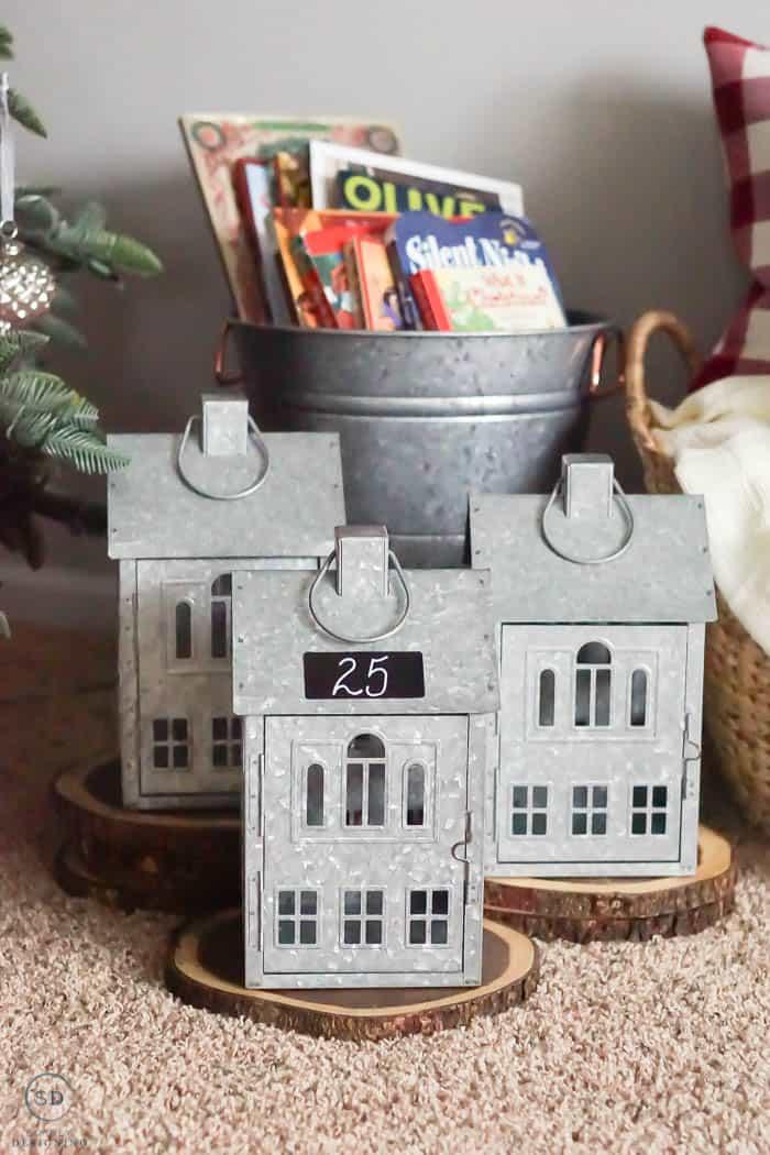 Galvanized House Lanterns as a Countdown Calendar