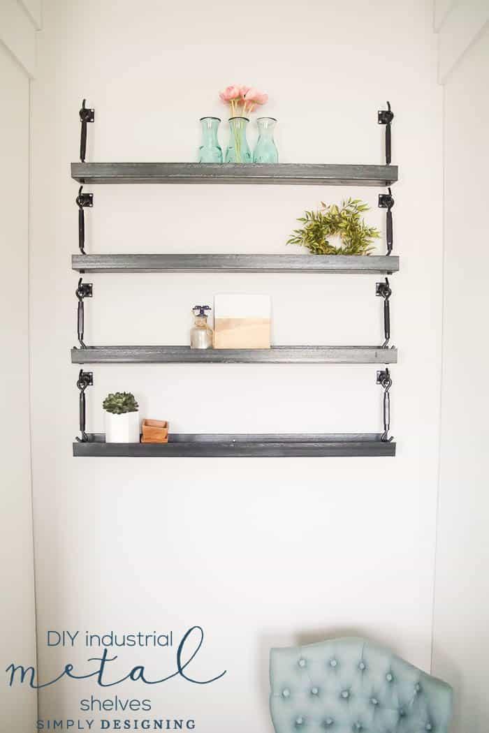 How to Make Industrial Metal Shelves - u channel shelves - steel channel shelves - metal shelves - diy metal shelves