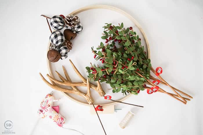 Antler Christmas Hoop Wreath supplies