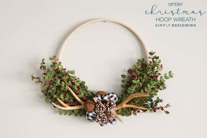 Antler Christmas Hoop Wreath - farmhouse christmas wreath