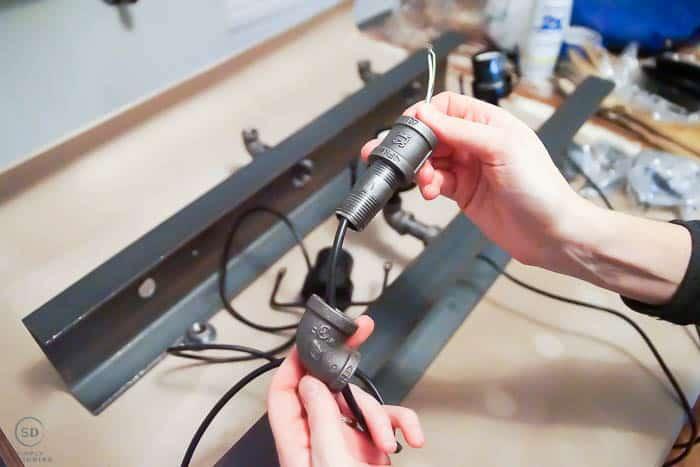 DIY industrial vanity lights
