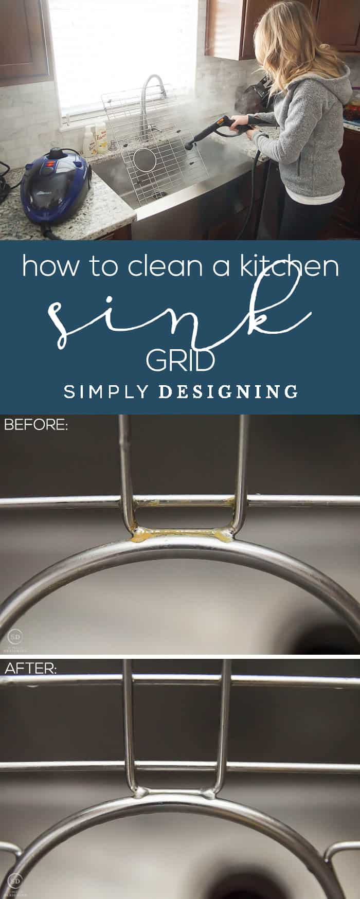How to Clean a Kitchen Sink Grid - the easiest most effective way to clean and sanitize a kitchen sink grid