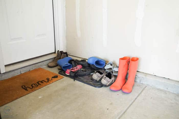 shoes thrown by back door
