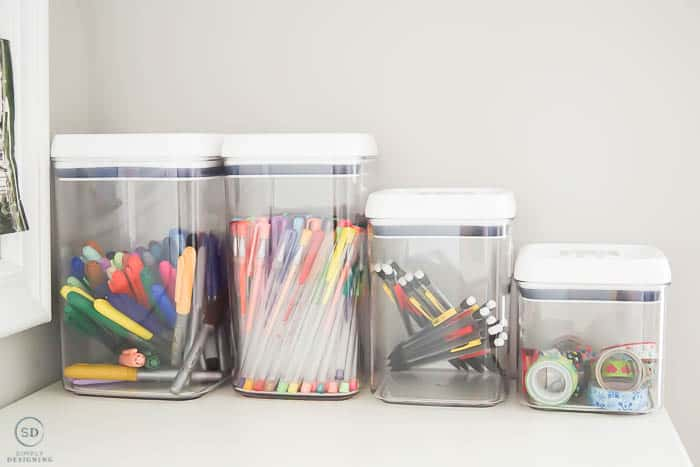 containers to organize office and craft supplies