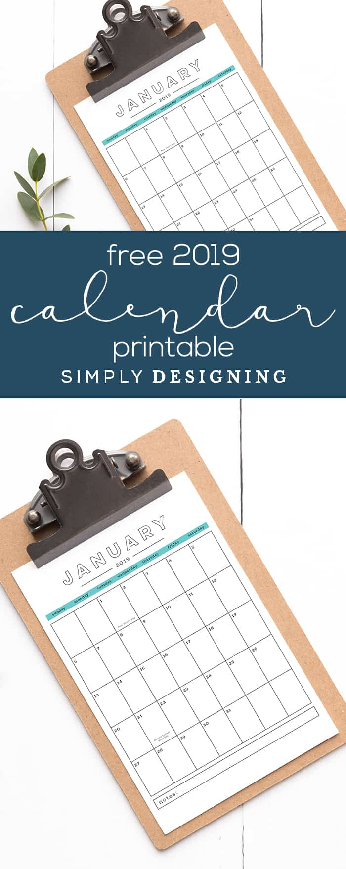 This free 2019 printable calendar is beautiful and functional and is yours to use for FREE
