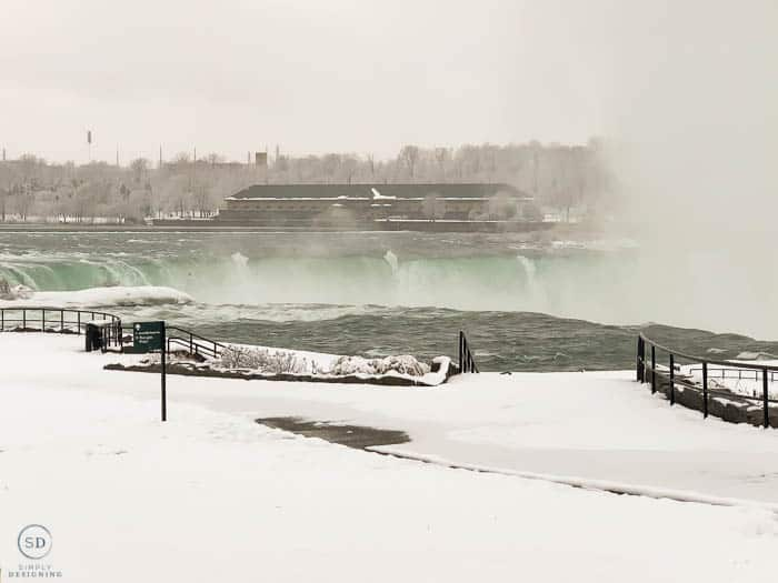Snow covered Niagara Falls in the winter