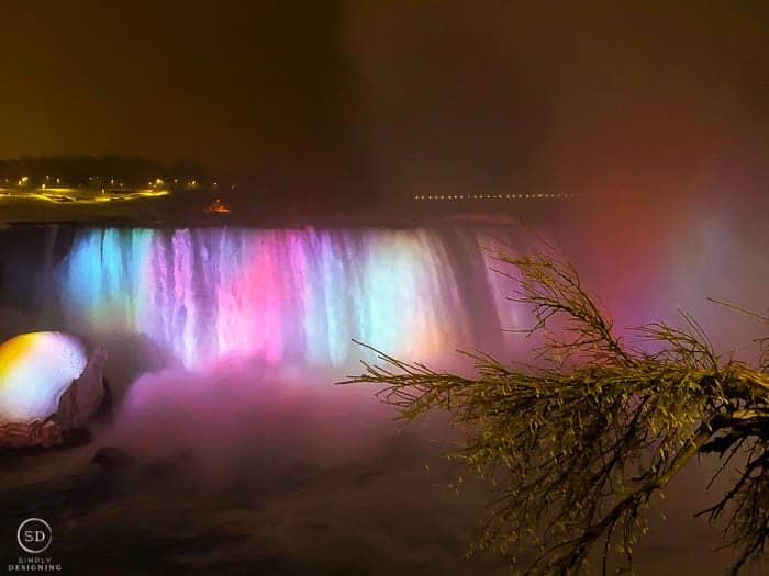 Niagara Falls lite up at night Canada