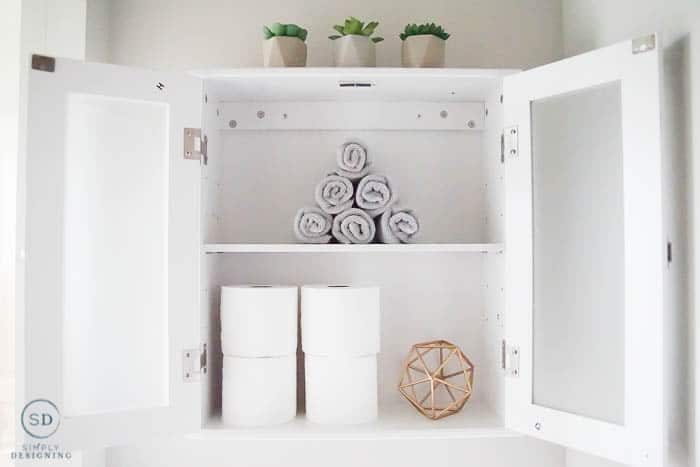 inside of wall cabinet for bathroom