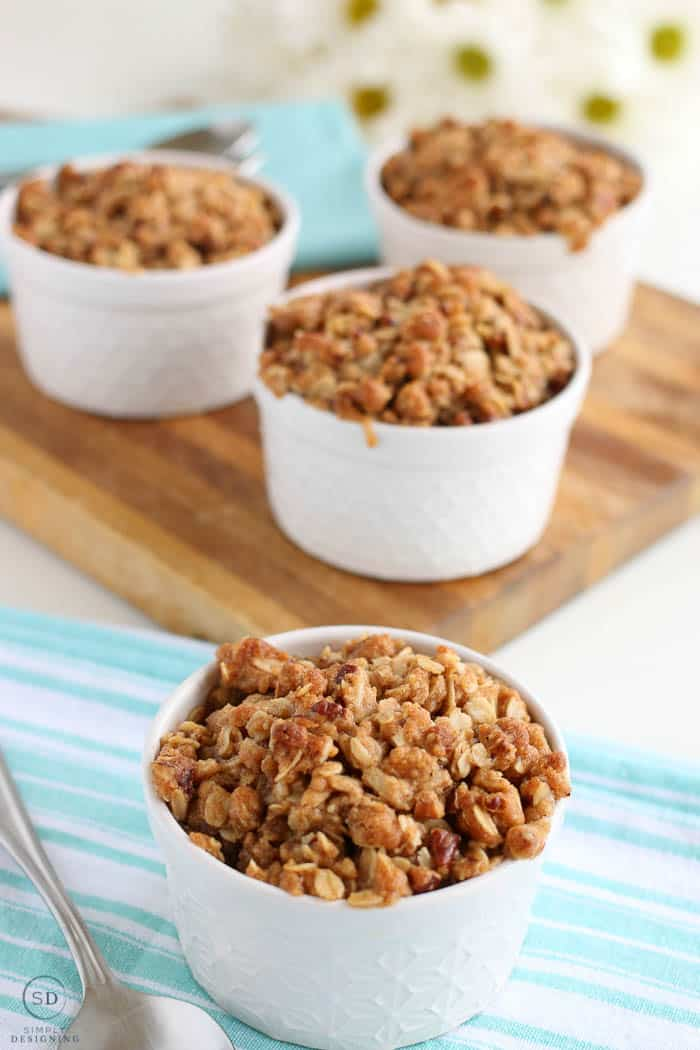 Rhubarb Crisp served fresh from the oven