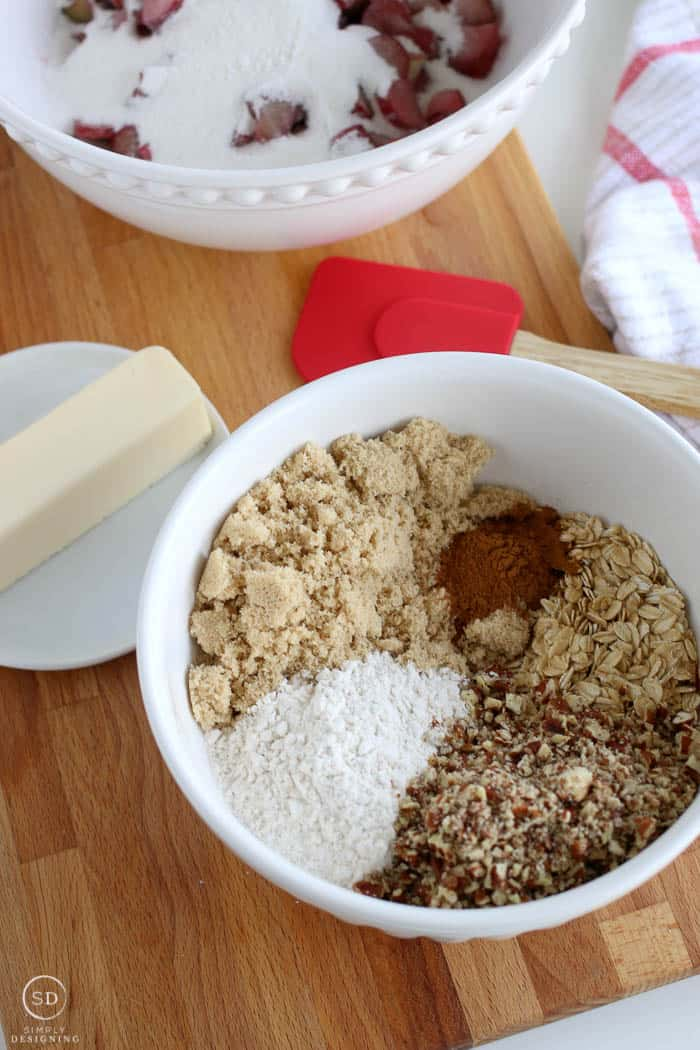 Ingredients for the crisp topping of a rhubarb crisp