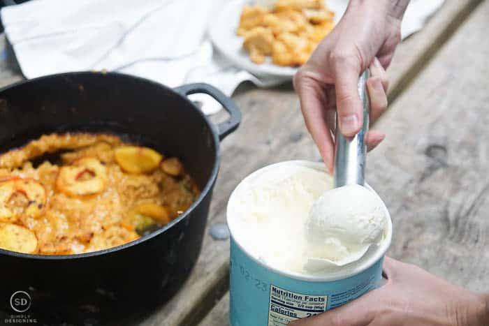 scoop vanilla ice cream to put on dutch oven peach cobbler