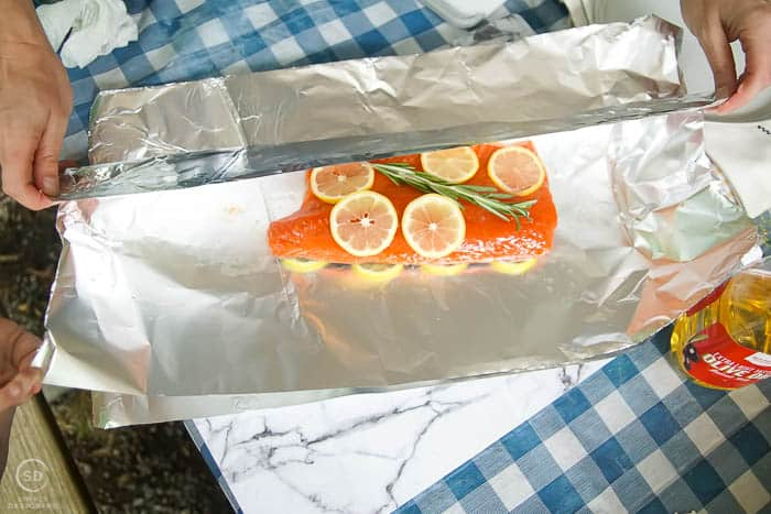 wrap baked salmon in foil