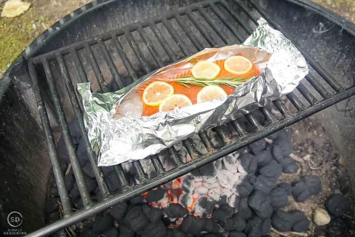 put honey lemon salmon in foil on grill
