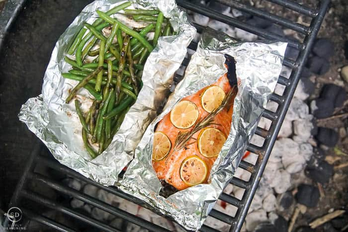 honey lemon grilled salmon and grilled green beans