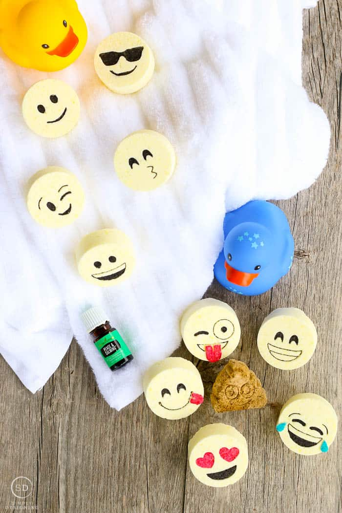 A birds eye view image of the final kids bath bombs, finished bath bomb recipe with essential oil and rubber ducks. The perfect bathtime combination for kids!