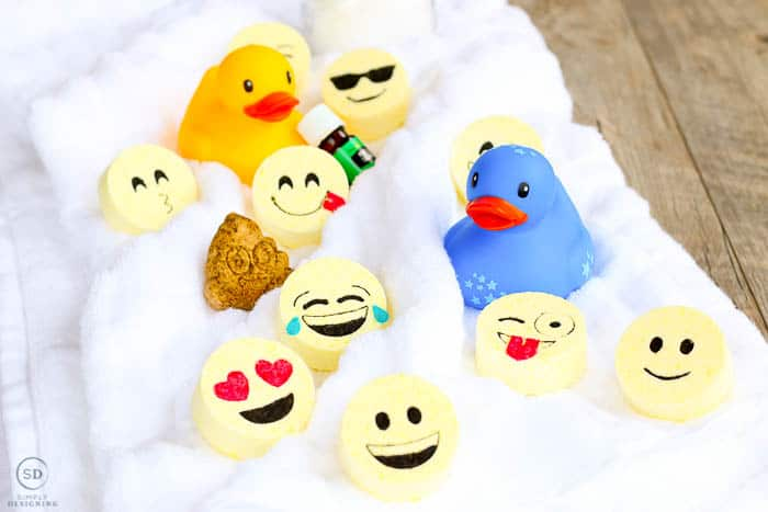 Close up image of the final essential oil kids bath bombs. This bath bombs recipe uses essential oils to help kids calm down and relax.