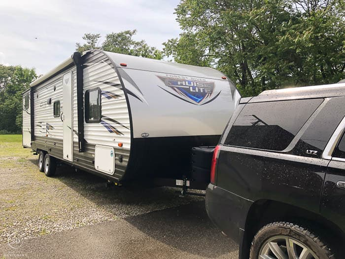 Travel Trailer being pulled by a Tahoe - Full-Time RV Living With a Family