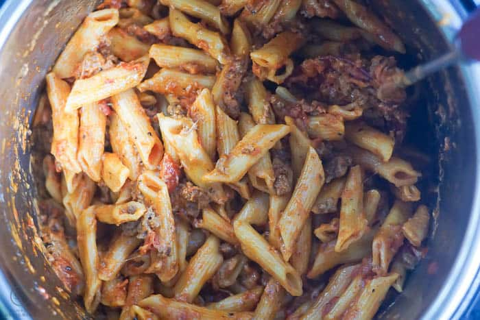 cooking ziti in a pressure cooker