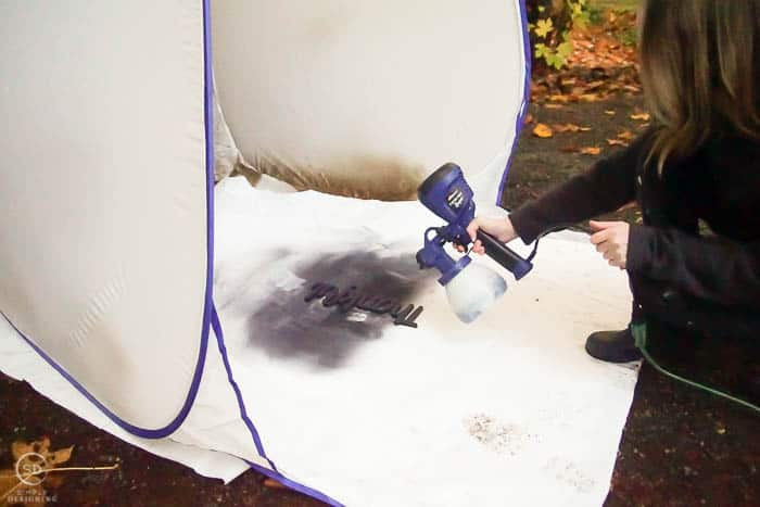 paint letters with paint sprayer