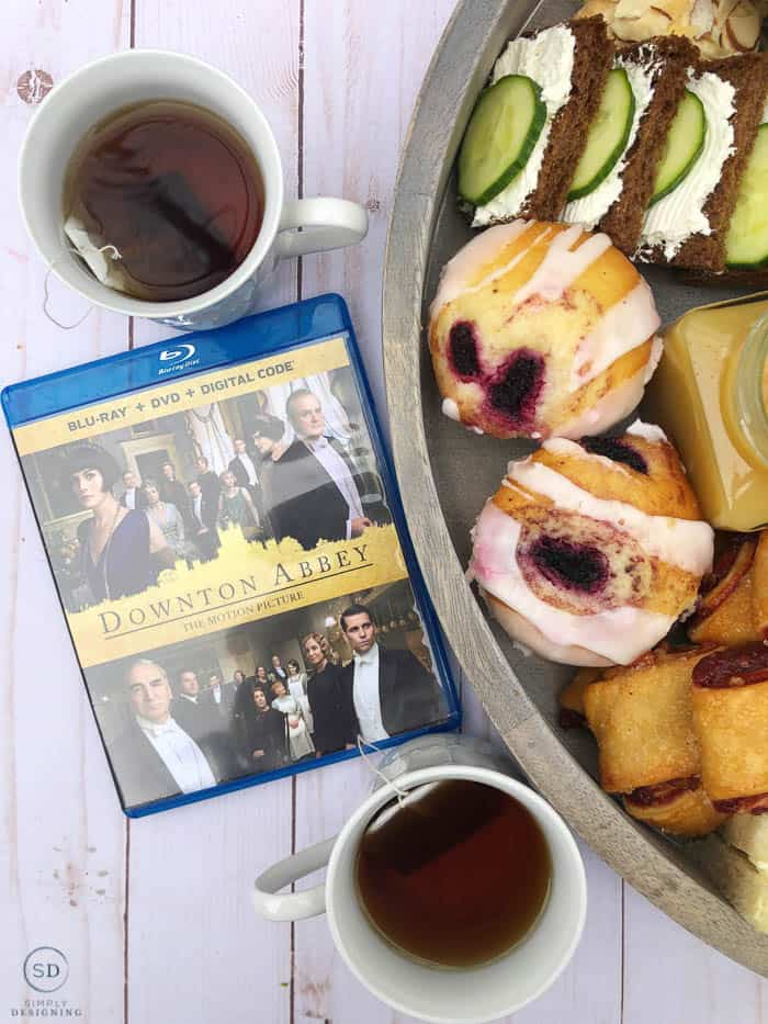 English Tea Charcuterie Board with tea and Downton Abbey DVD