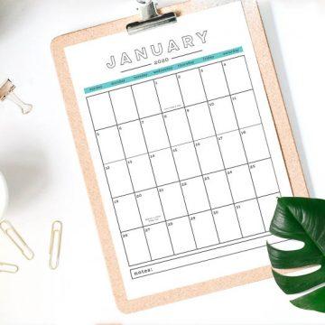 Free 2020 Printable Calendar-