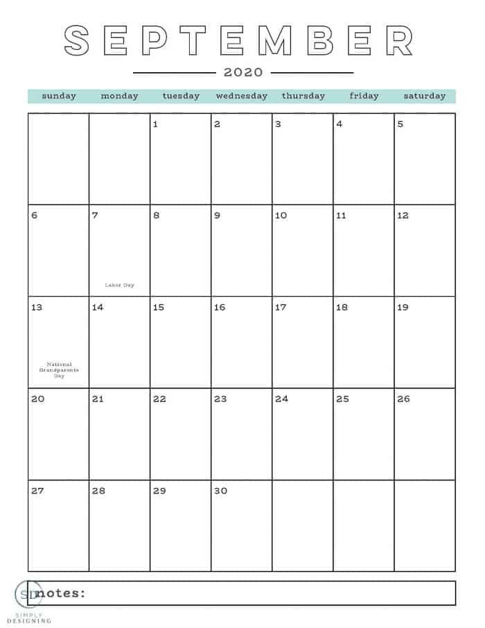 free 2020 calendar September