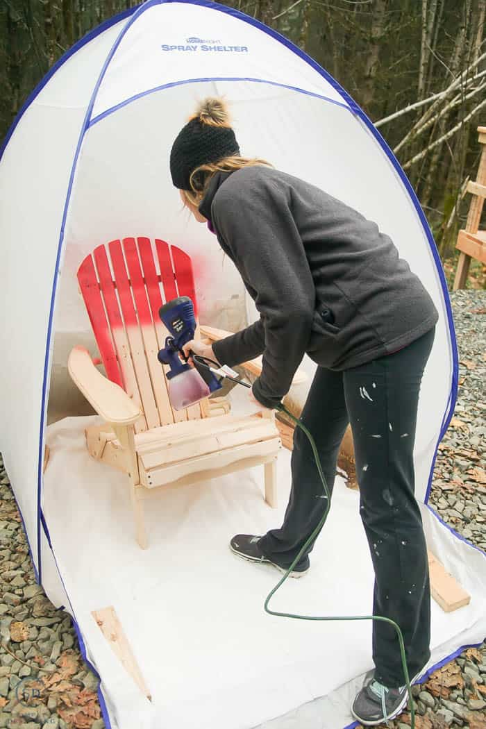 spray paint wood chair