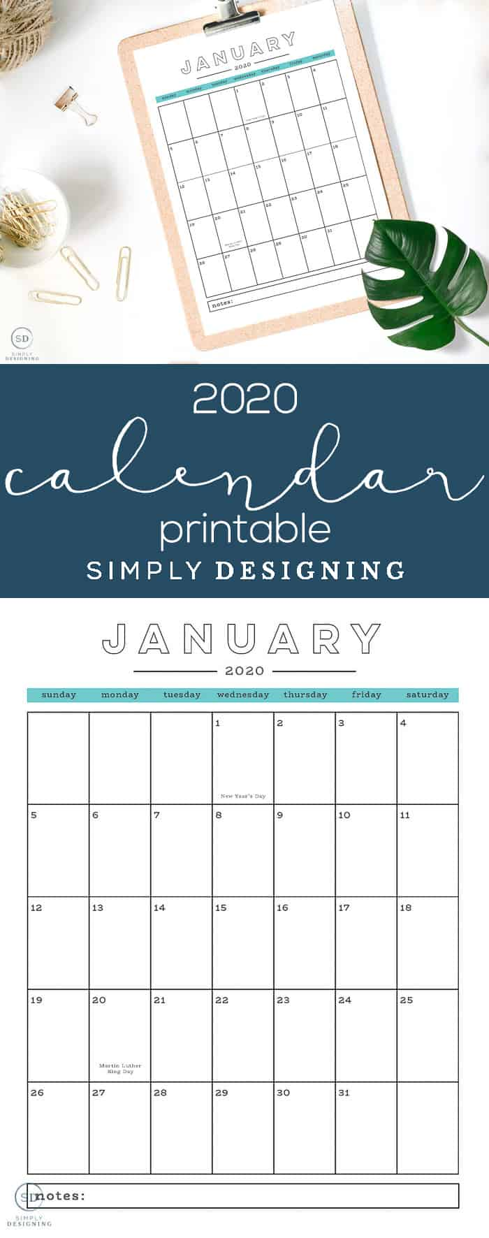 This modern free 2020 printable calendar with holidays is super functional and is the perfect way to plan your year your months your weeks and your days