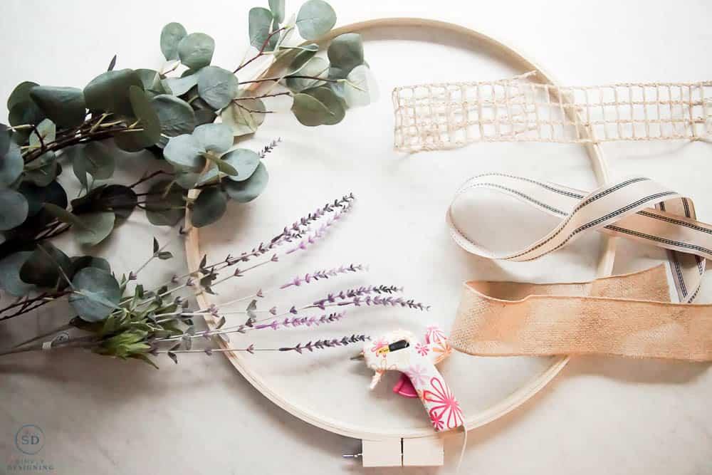 supplies for a hoop wreath
