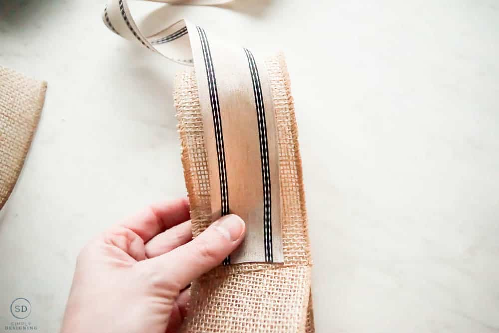 add second fabric to burlap for bow made with two ribbons