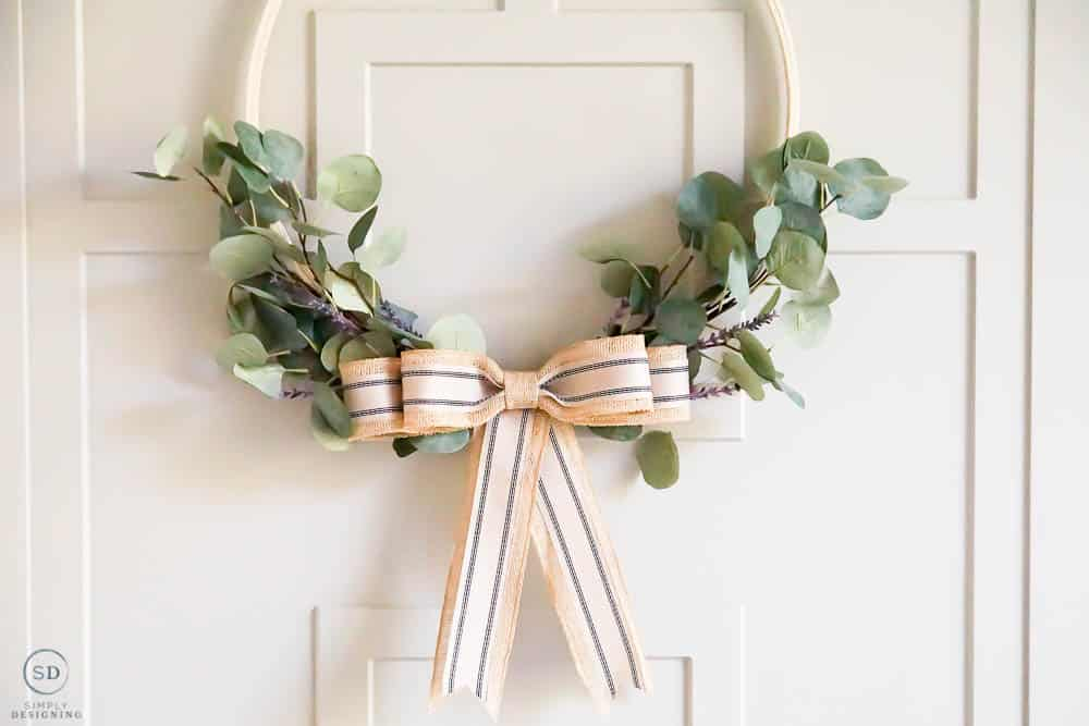 greenery hoop with lavender and burlap bow