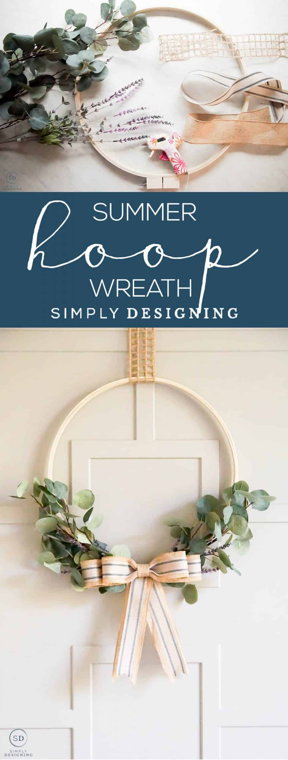 Summer Hoop Wreath - This beautiful Summer Hoop Wreath is a simple homemade wreath that you can easily make yourself with only a few supplies and not a lot of time