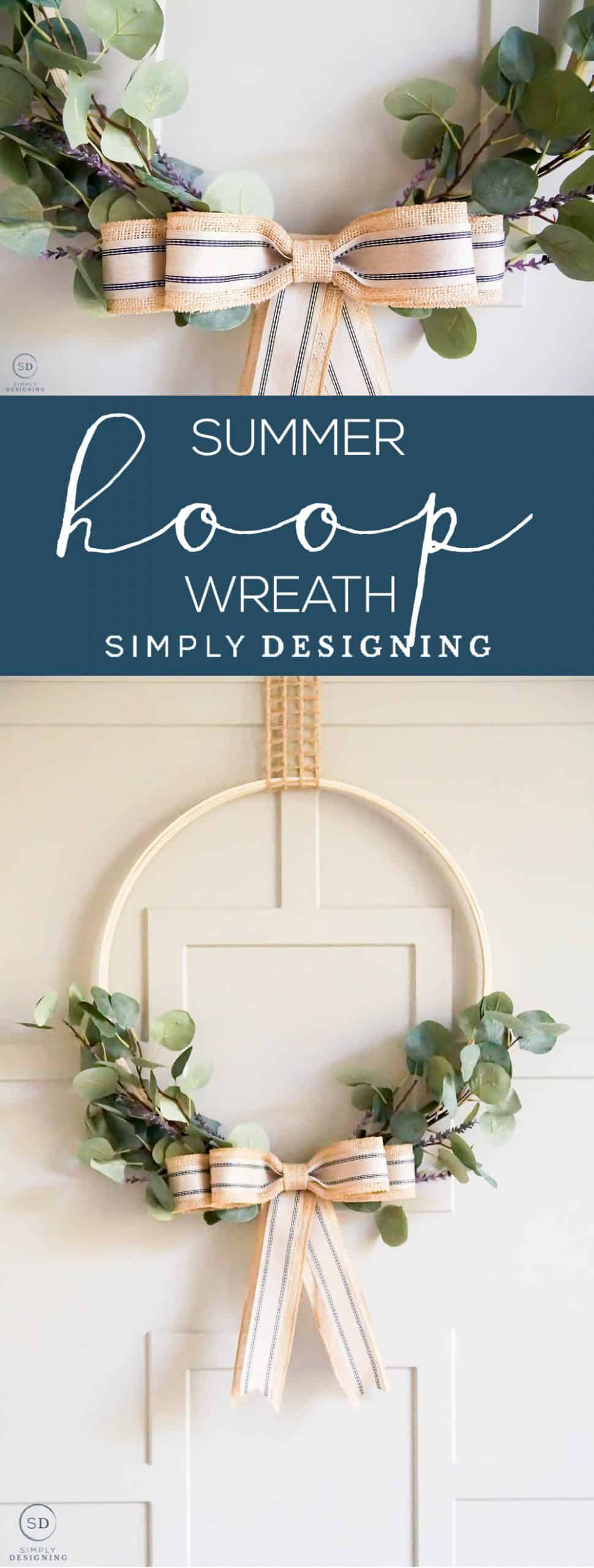 This beautiful Summer Hoop Wreath is a simple homemade wreath that you can easily make yourself with only a few supplies and not a lot of time.