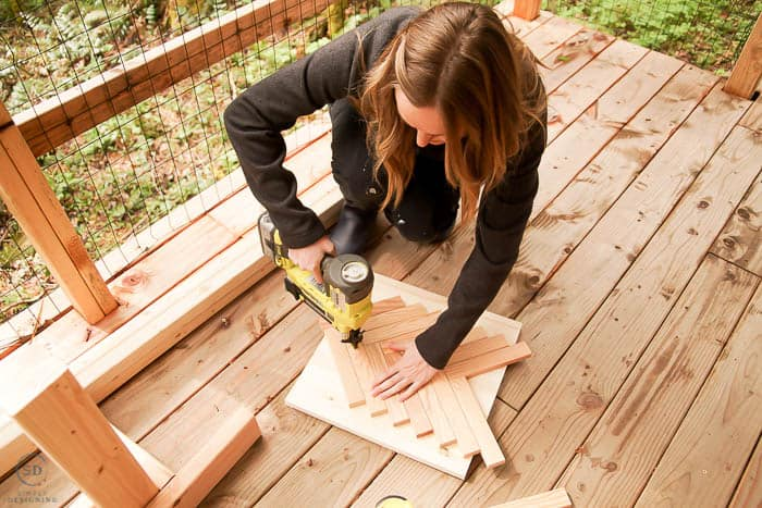 create herringbone table top