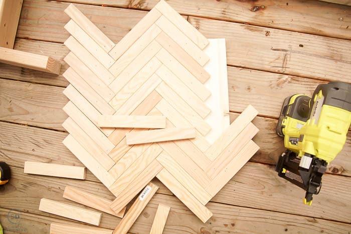 herringbone pattern with 1x2 wood boards