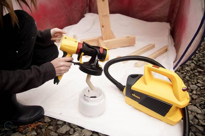 pour paint into paint gun