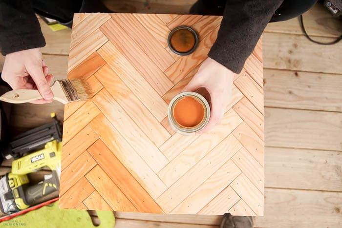 stain herringbone patterned wood