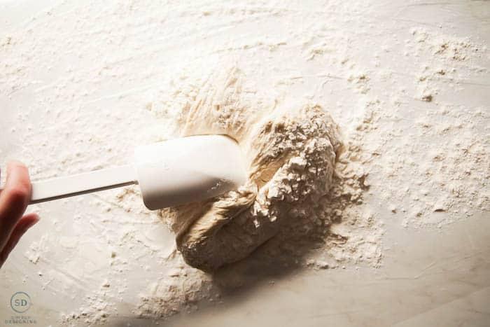 mix in more flour into dough