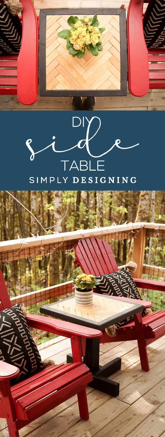 This beautiful DIY Side Table is a great way to create a stunning end table for inside or outside with scrap wood you may already have
